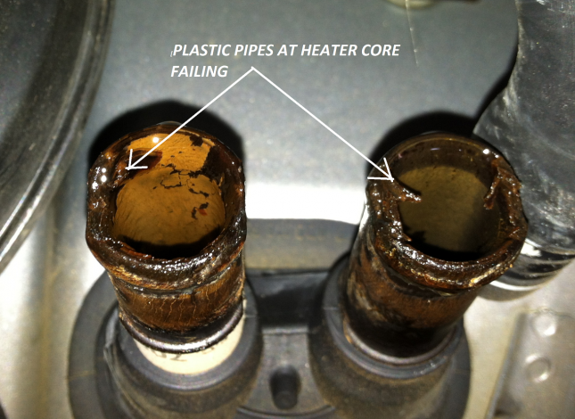 Damaged Clogged Heater Core due to mixing universal coolant with G12