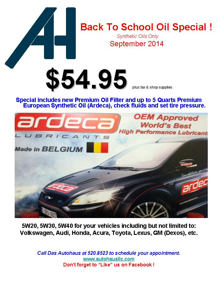 September Synthetic Oil Change SPECIAL !!