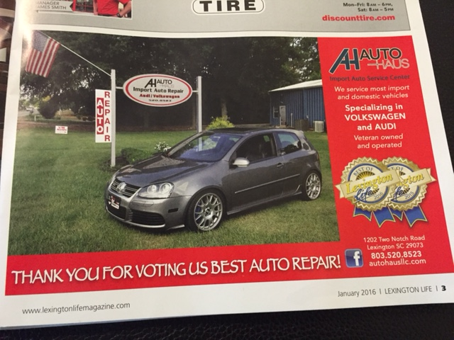 "Das Autohaus Voted ""Best Auto Repair 2016"" in Lexingon Life Magazine !!"